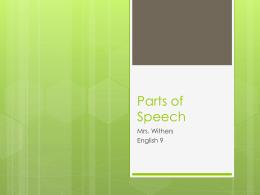 Parts of Speech (1) - Home