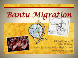 Bantu Migration - North Syracuse Central School District