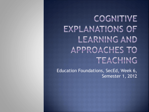 Cognitive explanations of learning and approaches