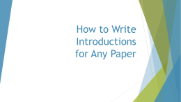 How to Write Introductions for Any Paper