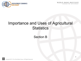 Importance and Uses of Agricultural Statistics, Part 2
