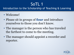 Intro to SoTL