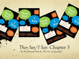 2. They Say-I Say, Chap. 3
