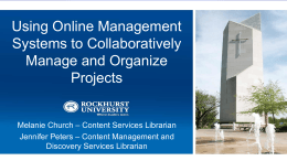 Using Online Management Systems to Collaboratively Manage and