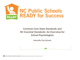 Common Core State Standards and NC Essential