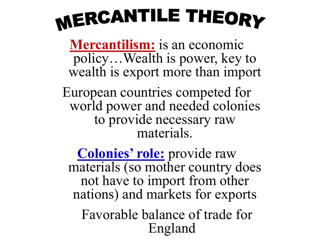 what is mercantilism theory