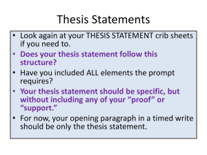 Thesis Statement *Birthday Party*