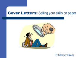 Cover Letters: Selling your Skills with Sharpay