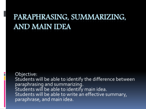 Paraphrasing & Summarizing