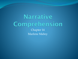 MABEY---CH 14 Narrative Comprehension