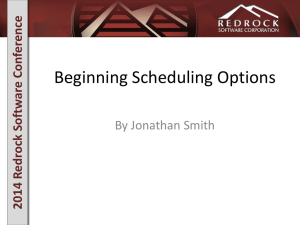 Advanced Scheduling Options - RedRock Software Corporation
