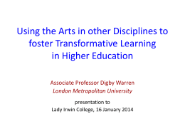 Arts Based Inquiry Prof Digby Warren