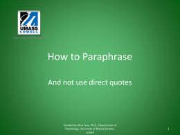 How to Paraphrase - University of Massachusetts Lowell