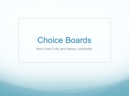 Choice Boards - Mary Kate Duffy