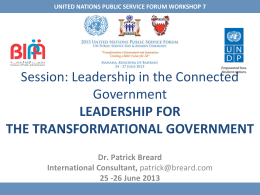 Dr. Patrick Breard - The United Nations Public Service Forum 2013