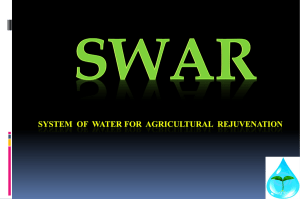 SWAR - System of Water for Agricultural Rejuvenation