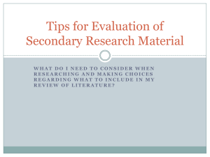 Tips for Evaluation of Secondary Research Material