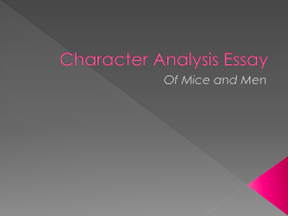 Character Analysis Essay - Miss Appell`s English Page