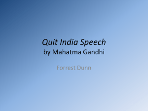 Quit India Speech - AP English Language and Composition