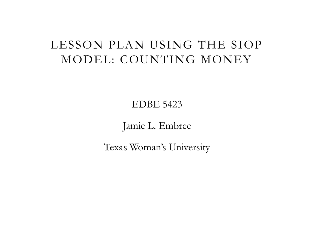 Lesson Plan Using The SIOP Model