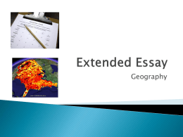Geography Extended Essay