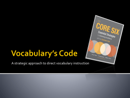 Vocabulary*s Code - wcpsselemprincipals