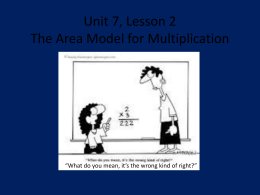 Unit 7, Lesson 2 The Area Model for Multiplication