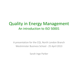 Quality in Energy Management An Introduction to ISO 50001