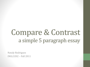 Compare & Contrast a simple 5 paragraph essay