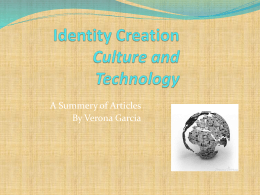 Identity Creation Culture and Technology 610