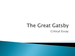 The Great Gatsby Essay writing