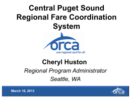 Central Puget Sound Regional Fare Coordination System
