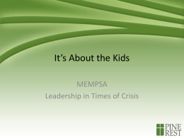 Leadership in Times of Crisis