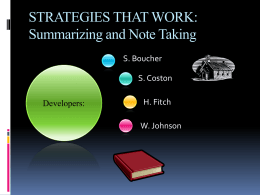 STRATEGIES THAT WORK: Summarizing and Note