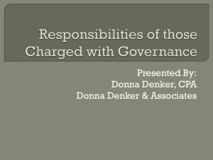 Responsibilities of those Charge with Governance