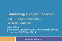 TLCs: Lessons learned - Dylan Wiliam`s website