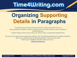 Organizing Supporting Details in Paragraphs