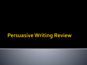 Persuasive Writing Sentence Review