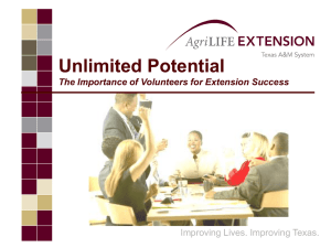 Importance of Volunteers for Extension