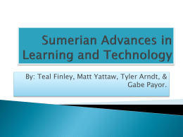 Sumerian Advances in Learning and Technology
