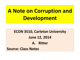 Corruption and Development - ECON 3510 – African Economic