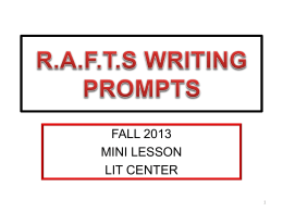 rafts writing prompts