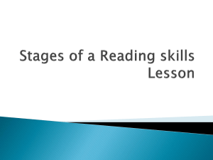 Stages of a Reading skills Lesson