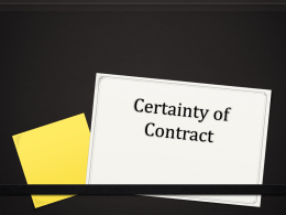 Commercial law Certainty of Contract