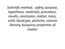 Scientific method, safety, purpose, hypothesis, materials