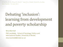 Debating *inclusion*: learning from development
