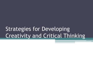 Strategies for Developing Creativity and Critical