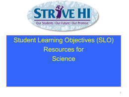 Student Learning Objectives - Educator Effectiveness