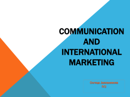 Communication and International marketing Olgica