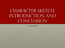 Character Sketch: Introduction and Conclusion